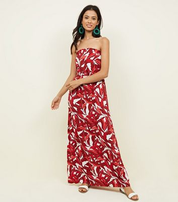 Red Tropical Bandeau Maxi Dress