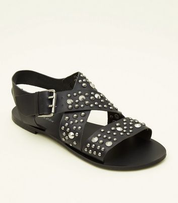 Black Leather Studded Strappy Flat Sandals
