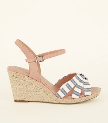 Wide Fit Nude Linen Stripe Strap Espadrille Wedges