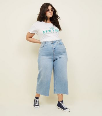 Curves Blue Cropped Wide Leg Jeans