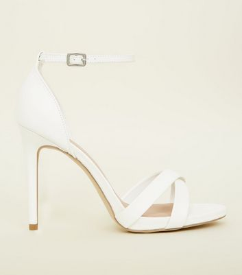 Wide Fit White Leather-Look Cross Strap Sandals
