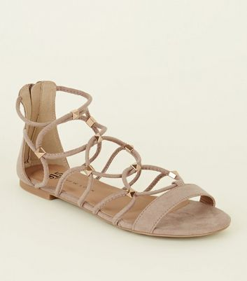 Teens Grey Suedette Studded Gladiator Sandals