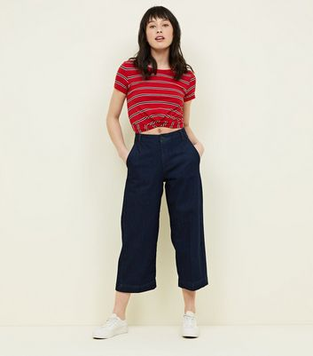Blue Rinse Wash Cropped Wide Leg Jeans