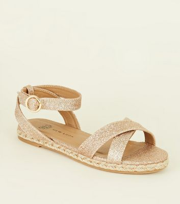 Teenager – Sandalen in Espadrilles-Optik mit Glitzer-Effekt