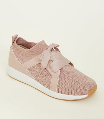 Girls Pink Knitted Ribbon Tie Trainers