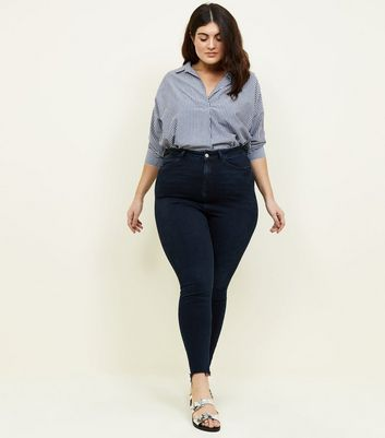 Curves Navy High Waist Super Skinny Jeans