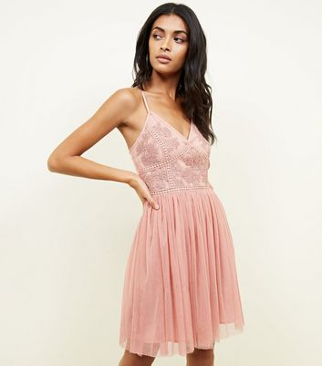 Deep Pink Embroidered Mesh Skater Dress