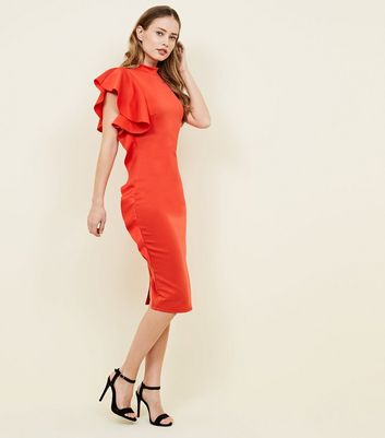 Red Frill Side Bodycon Dress