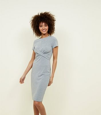Grey Twist Front Jersey Bodycon Dress by New Look