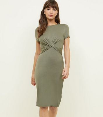 Olive Green Twist Front Jersey Bodycon Dress