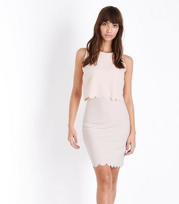Pale Pink Scalloped Double Layer Shift Dress