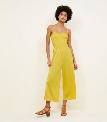 Mustard Shirred Jersey Culotte Jumpsuit