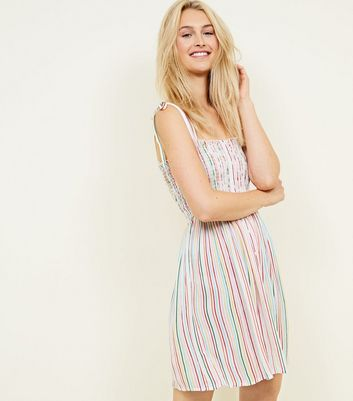 Rainbow Stripe Button Through Shirred Sundress