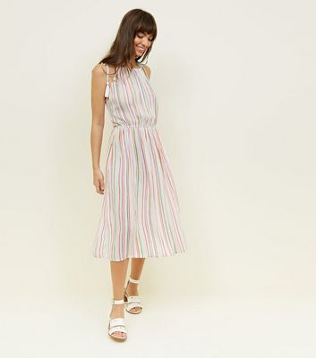 Rainbow Stripe Tassel Tie Midi Dress