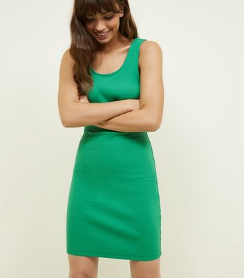 Green Ribbed Sleeveless Bodycon Dress