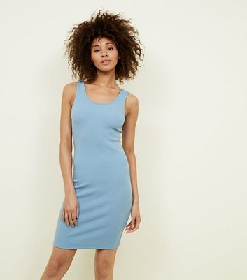 Pale Blue Ribbed Sleeveless Bodycon Dress