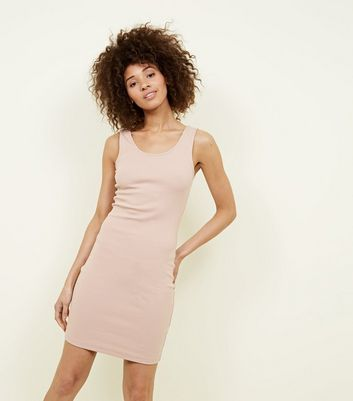 Pale Pink Ribbed Sleeveless Bodycon Dress