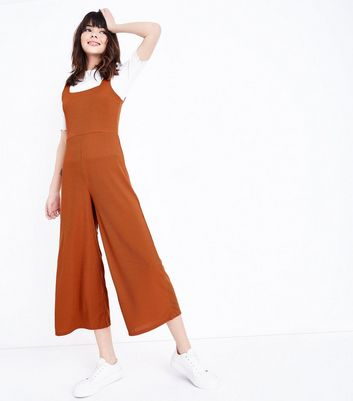 Rust Ribbed Square Neck Culotte Jumpsuit by New Look