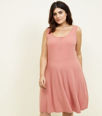 Curves Coral Ribbed Jersey Skater Dress