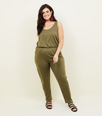 Curves Khaki Jersey Sleeveless Jumpsuit