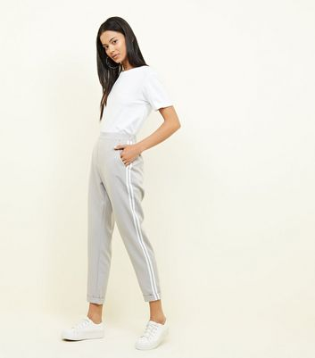 Grey Double Side Stripe Tapered Trousers