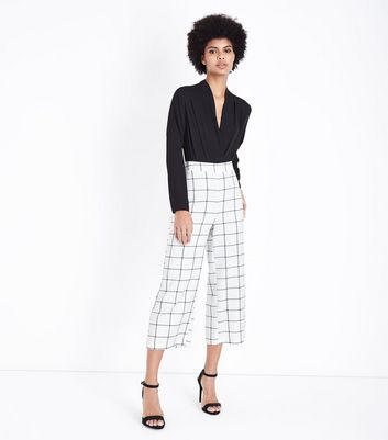 White Grid Check Cropped Trousers