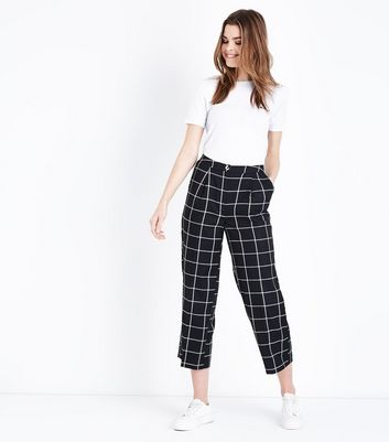 Black Check Cropped Trousers