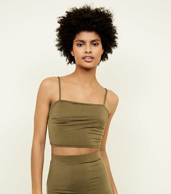 Khaki Square Neck Cropped Cami Top