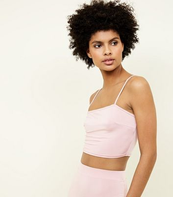 Pale Pink Square Neck Cropped Cami Top