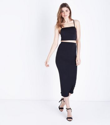 Black Bodycon Midi Skirt