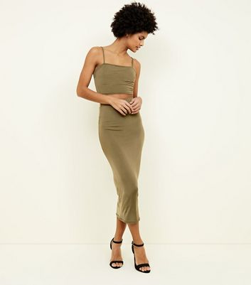 Khaki Bodycon Midi Skirt
