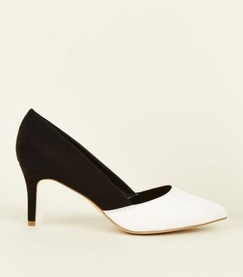 Wide Fit Black Monochrome Pointed Courts