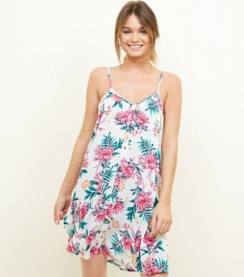 White Tropical Floral Swing Beach Dress by New Look