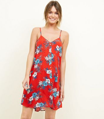 Red Floral Beach Swing Dress
