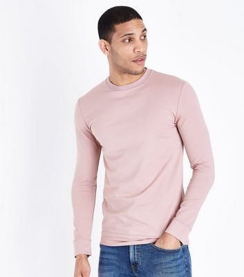 Pink Muscle Fit Crew Neck Sweatshirt