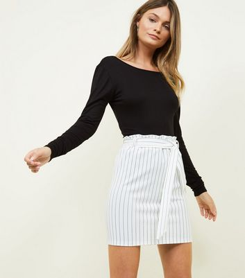 White Stripe Paperbag Waist Mini Skirt