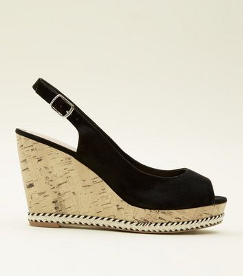 Black Comfort Suedette Peep Toe Cork Wedges