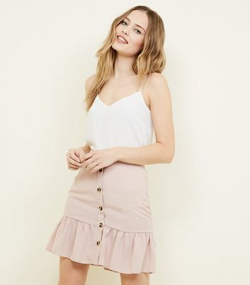 Pink Button Front Frill Hem Mini Skirt