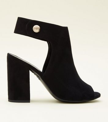 Black Suedette Popper Ankle Strap Peep Toes