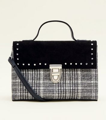 Black Studded Trim Check Satchel Bag by New Look