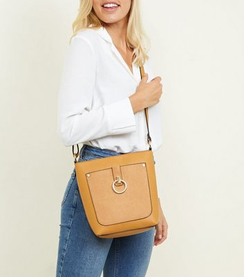 New Look - Mustard Contrast Ring Front Bucket Bag - 2