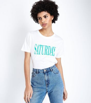 Tall White Saturday Slogan T-Shirt