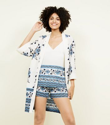 White Floral Border Print Kimono 				  				 					 				 			 			 					White Floral Border Print Cami by New Look