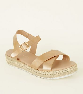 Girls Rose Gold Espadrille Flatform Sandals