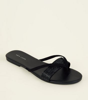 Black Diamanté Strap Flip Flops