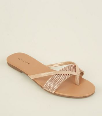 Rose Gold Diamanté Strap Flip Flops by New Look