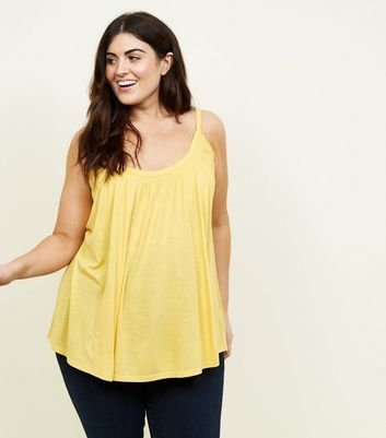 Curves Yellow Shirred Neck Cami