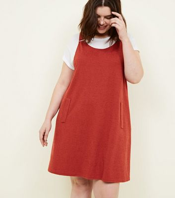 Curves Rust Cross Hatch Pinafore Dress