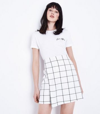 White Grid Check Wrap Skirt