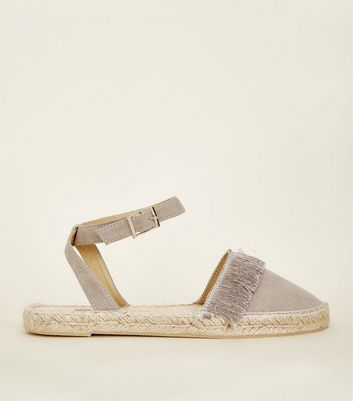 Girls Grey Fringed Two Part Espadrilles